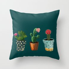Three Cacti With Flowers On Green Background Throw Pillow
