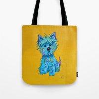 westie Tote Bags featuring Westie dog by K.ForstnerArt