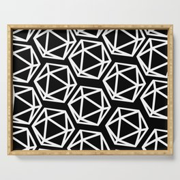 D20 Pattern - White & Black Serving Tray