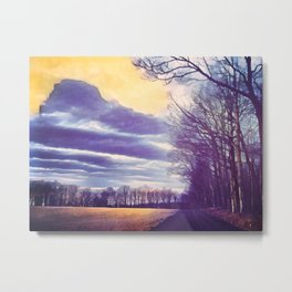 Walking on a Country Road Metal Print