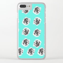 Teal Flower Pattern Clear iPhone Case