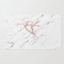 Rose gold deer - soft white marble Rug