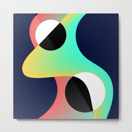 Abstract Lava Lamp and Circles Modern Gradient Design Metal Print