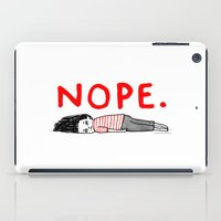 bag iPad Cases featuring Nope by gemma correll