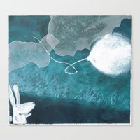 baloon Canvas Prints featuring moon baloon by stefania coniglio