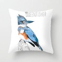 Queenfisher (Belted Kingfisher) Throw Pillow