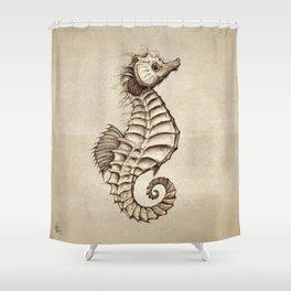 """Fantasy Seahorse"" by Amber Marine ~ (Vintage) ~ Ink Illustration, (Copyright 2016) Shower Curtain"