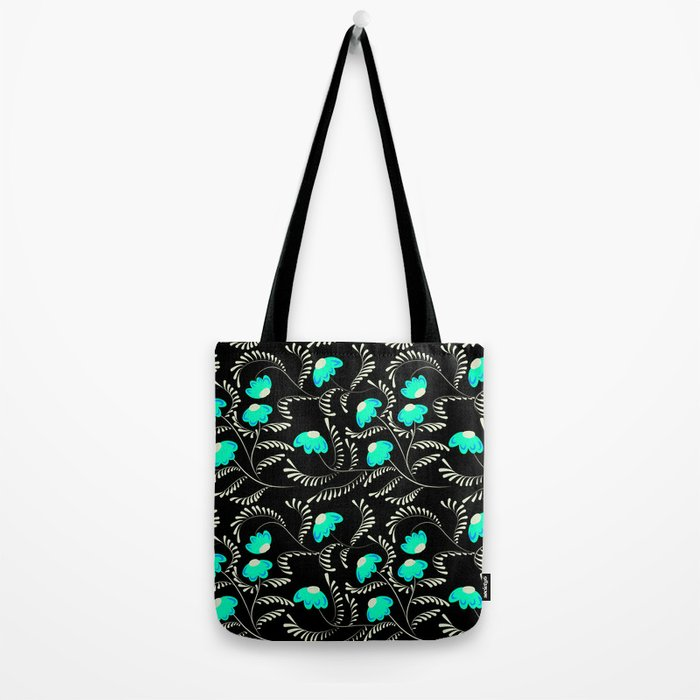 Retro . Turquoise flowers on a black background . Tote Bag