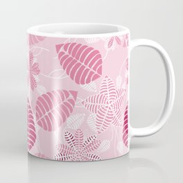 Pretty Pink Floral Leaf Pattern Coffee Mug