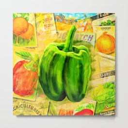 Green Bell Pepper - Vintage Collage Metal Print