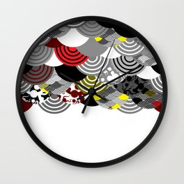 Nature background with japanese sakura flower, Cherry, wave circle Black gray white Red Yellow color Wall Clock