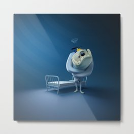 Crazy monster, in a straitjacket, with his bed. Metal Print