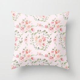 Rose Blush Watercolor Flower Pattern Throw Pillow