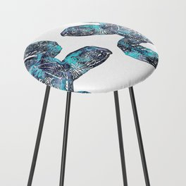 Sea Turtle Blue Watercolor Art Counter Stool