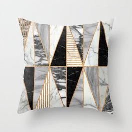 Marble Triangles - Black and White Throw Pillow