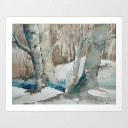 Fox Hiding Beyond The Trees Art Print