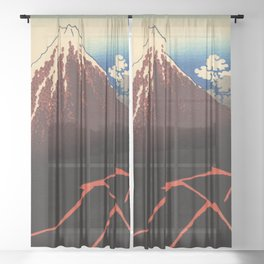 Rainstorm Beneath the Summit (Sanka hakū or 山下白雨) Sheer Curtain