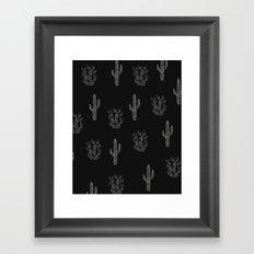 Cactus Pattern Black Framed Art Print