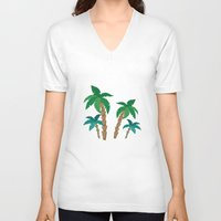 palm V-neck T-shirts featuring palm by Ceren Aksu Dikenci