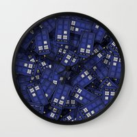 doctor Wall Clocks featuring Tardis by 10813 Apparel