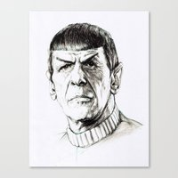 spock Canvas Prints featuring Spock by Sara (aka Wisney)