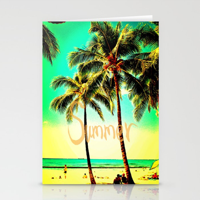green yellow vintage palm tree with hawaii summer sea beach