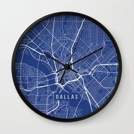 Dallas Map, USA - Blue Wall Clock