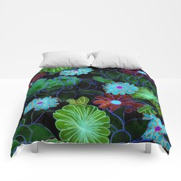 Oriental blossom (night version) Comforters