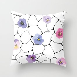 pansies on cracked ground Throw Pillow