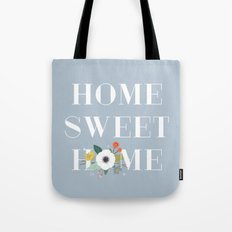 Floral Home Sweet Home - in Dusty Blue Tote Bag