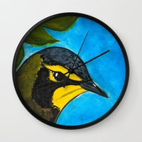 kentucky Wall Clocks featuring Kentucky Warbler  by Art by Peleegirl