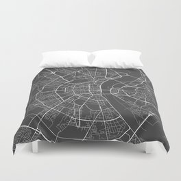 Cologne Map, Germany - Gray Duvet Cover