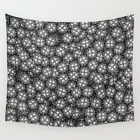 poker Wall Tapestries featuring Poker chips B&W / 3D render of thousands of poker chips by GrandeDuc