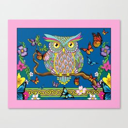 Spring Butterfly Owl Canvas Print