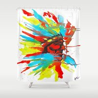 native american Shower Curtains featuring Native American by ART HOLES