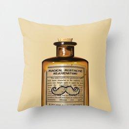 Magical Mustache Rejuvinator Throw Pillow