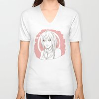 sakura V-neck T-shirts featuring Sakura by ilaBarattolo