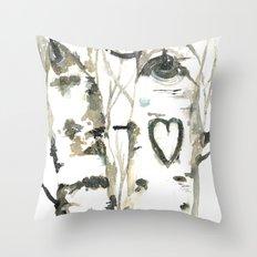 Winter Romance Birch Forest  Throw Pillow