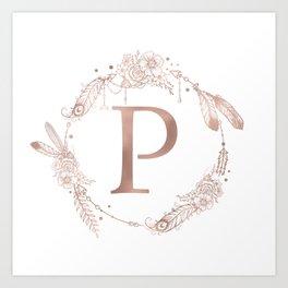 Letter P Rose Gold Pink Initial Monogram Art Print