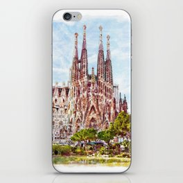 La Sagrada Familia watercolor iPhone Skin