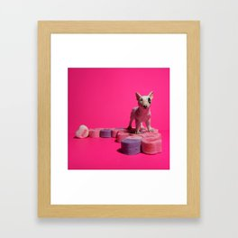 The Bull Terrier & The Conversation Hearts Framed Art Print