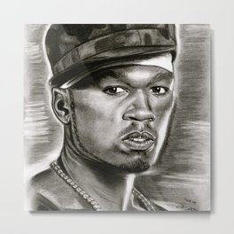 50 Cent in Black and White Metal Print