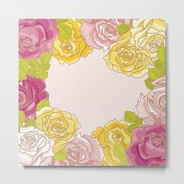 Yellow and pink roses. Spring mood. Metal Print