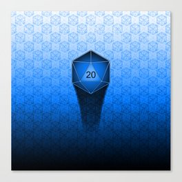 D20 All I Do Is Crit!  Blue Ombre Canvas Print