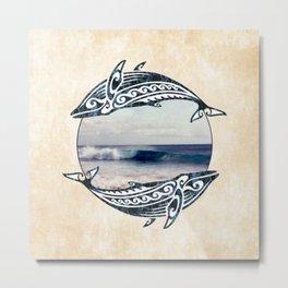 Hawaiian Whales Metal Print