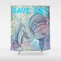 manatee Shower Curtains featuring Whimiscal Manatee by Judy Skowron