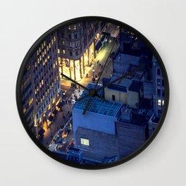 NYC Street at Night Wall Clock
