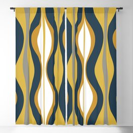 Hourglass Abstract Mid Century Modern Retro Pattern in Mustard Yellow, Navy Blue, Grey, and White Blackout Curtain