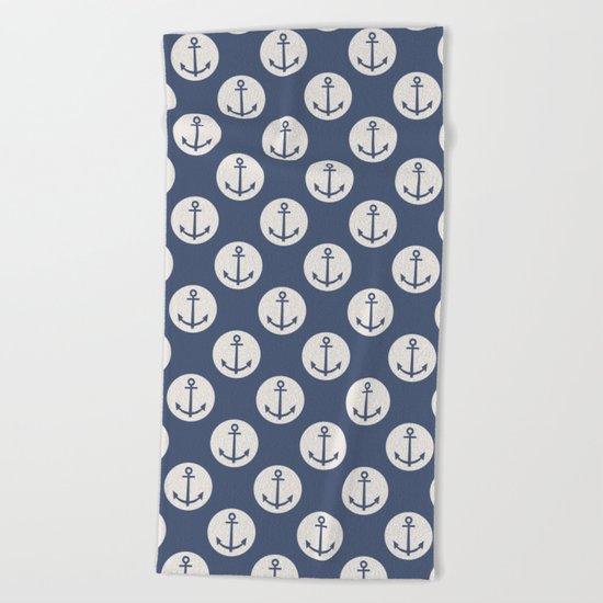 Blue Nautical Ships Anchor Beach Towel