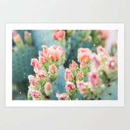 Prickly Pear Glitter Cactus II Art Print